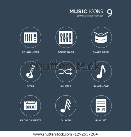 9 icons Set such as Sound mixer, bars, Radio cassette, Saxophone, Shuffle, Snare drum, Sitar, Quaver modern icons on black background, vector illustration