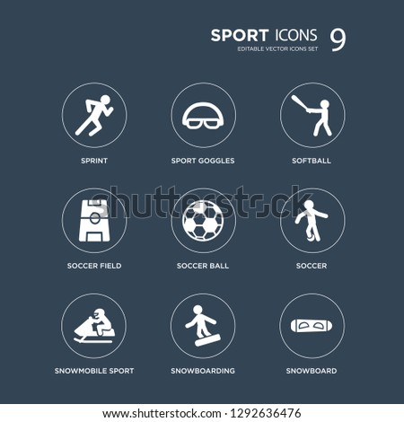 9 icons Set such as sprint, Sport Goggles, Snowmobile sport, Soccer, Soccer ball, softball, field, snowboarding modern icons on black background, vector illustration