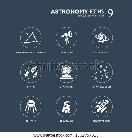 9 icons Set such as Triangulam australe, Telescope, Sputnik, Star Cluster, Stargate, Supernova, Stars, Spaceman modern icons on black background, vector illustration