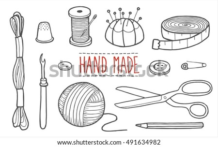 Icons the tools of the weaver and seamstress. Vector illustration