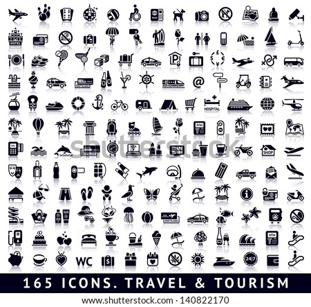 165 Icons. Travel And Tourism With Reflection
