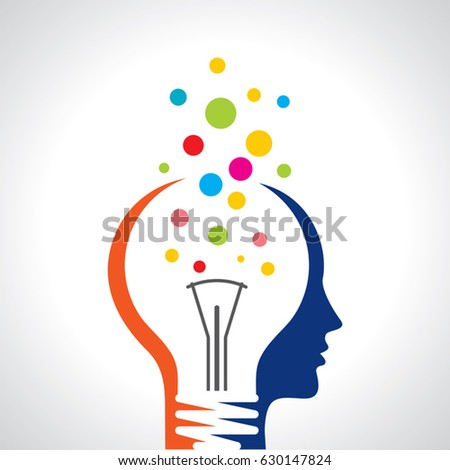 idea solution bulb human man head brain concept illustration art