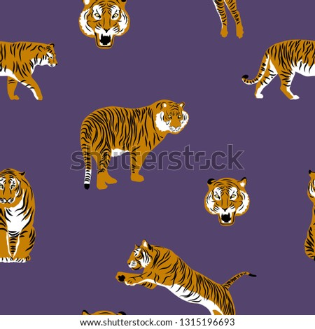 Тigers on purple background