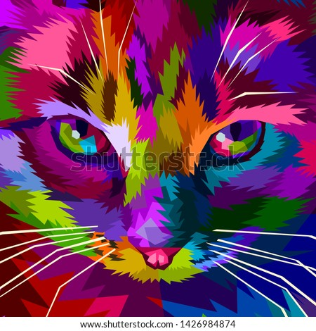 illustration colorful cool cat