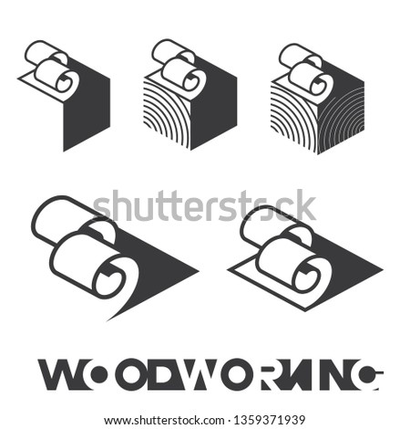 illustration consisting of a picture of a piece of wood and the inscription 'woodworking' in the form of a symbol or logo 商業照片 ©