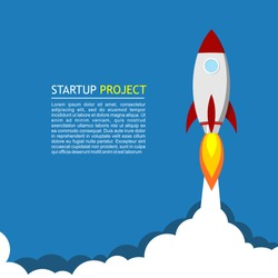 illustration for startup. A rocket takes off from the launch base into the infinite sky and space