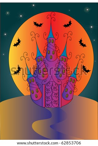 illustration holiday halloween house on background of the moon and bats