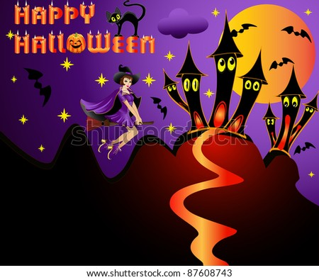 illustration holiday  halloween witch on broom on background of the building and moon