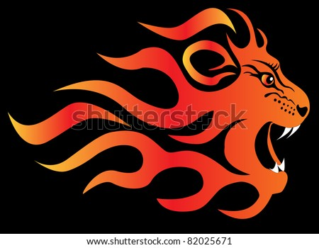 illustration infuriated lion in fire on black  background