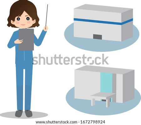 Illustration of a factory with a woman in work clothes