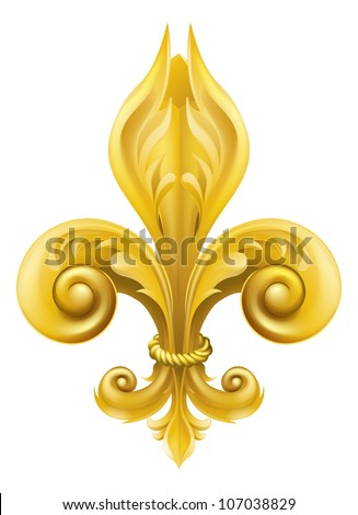 Illustration of a gold fleur-de-lis graphic design element