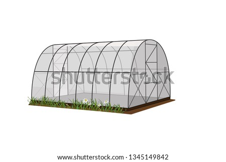 Illustration of a greenhouse, a greenhouse on a white background, for growing plants and vegetables. Vector ストックフォト ©