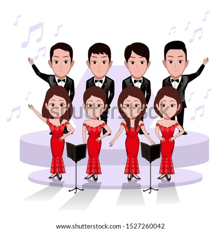 illustration of a group of male and female choirs. Wear formal dress, tuxedo and elegant dresses. Vector cartoons that can be used for caricature or mascot templates with plain backgrounds.