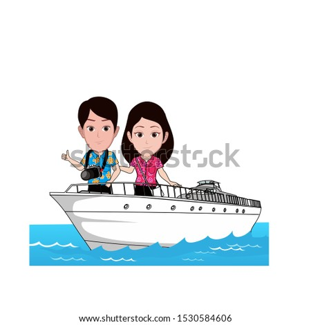 illustration of a man and woman on vacation on a cruise ship, carrying binoculars and a floral shirt. Vector cartoons that can be used for caricature or mascot templates.