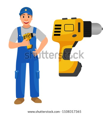 Illustration of a man in a jumpsuit with a screwdriver in his hands