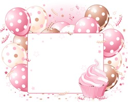 Illustration of blank place card with balloons and cupcake