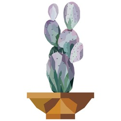 Illustration of cactus tree in a pot with low poly design vector. Gradient, polygonal.