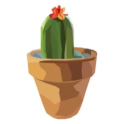 Illustration of cactus tree with flower and  pot with low poly design. Gradient, polygonal.