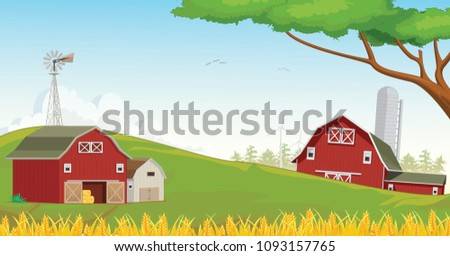 red barn and silo vector download free vector art stock graphics