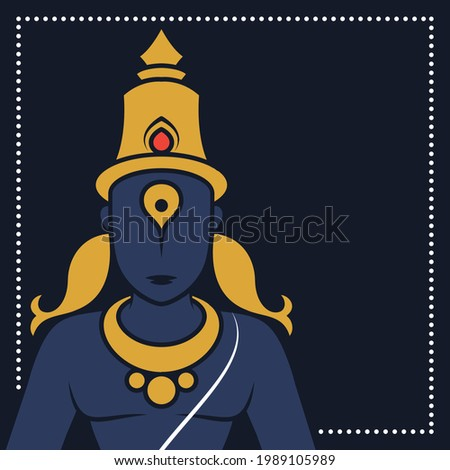 Illustration of Lord Vitthal aka Pandhari, Pandurang, Vithu Mauli, Pandharinath, Vithoba from Famous Hindu Temple of Pandharpur, Maharashtra, India; Creative Conceptual Vector Graphic Art. Stockfoto ©