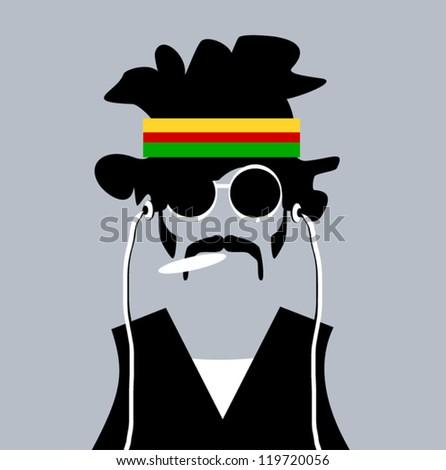 illustration of man with rastafarian headband and marijuana joint