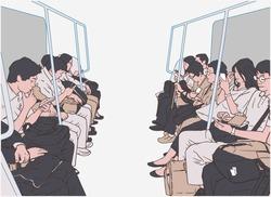 Illustration of people using public transport, train, subway, metro