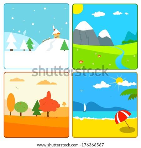 illustration of 4 season