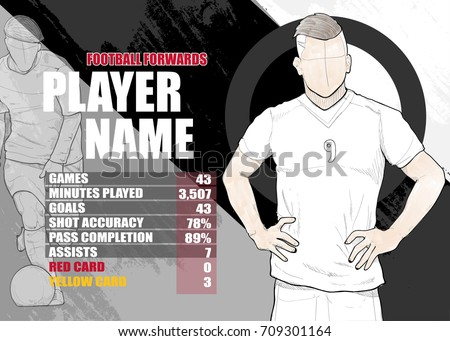 illustration of soccer players forwards position game statistics on background design