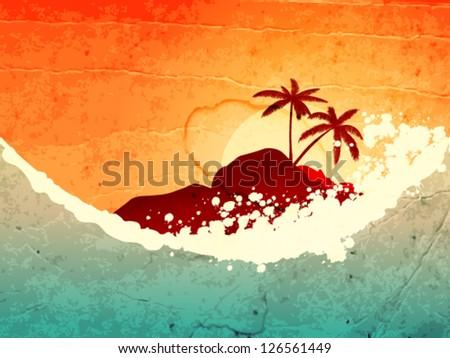 illustration of tropical sea
