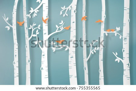 Illustration of winter season,Bird are flying in the forest,paper art and  digital craft style.