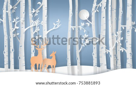 Illustration of winter season deer in forest with full moon.vector paper art style.