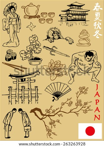 illustration on the theme of Japan Attractions: flag, architecture, people, flora and fauna.