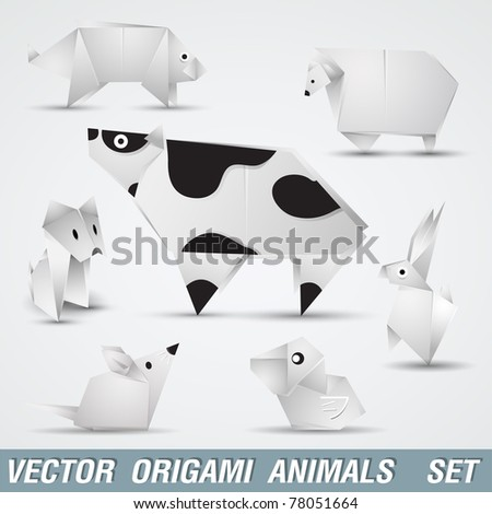 Illustration origami elements animal farm, Illustration of folded paper models,
