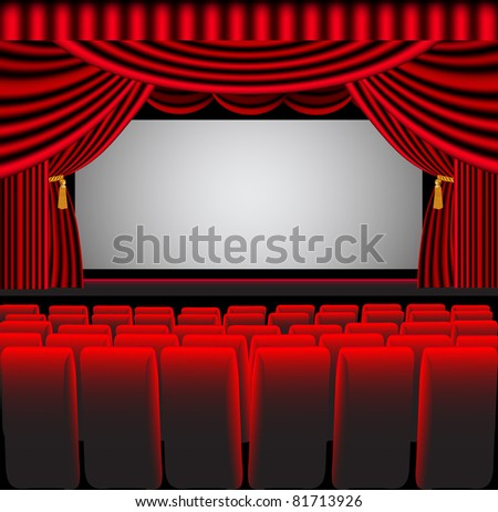 illustration premises theater with screen and chair
