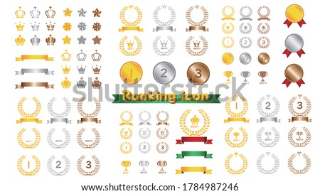 Illustration set of ranking icon and crown ストックフォト ©