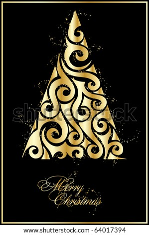 illustration with gold xmas tree