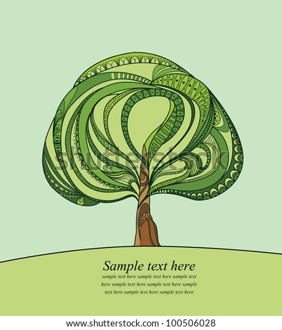 Illustration with green tree and text