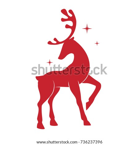 Illustration with silhouette of a red reindeer isolated on white background. Vector design with Christmas deer.