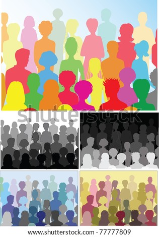 5 illustrations of crowd (different colors)