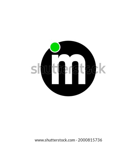 'im' Letters on black round with green dot. 'IM' logo vector.   Stok fotoğraf ©