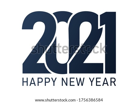 2021 image, Happy New 2021 Year. Holiday vector illustration of Blue numbers 2021