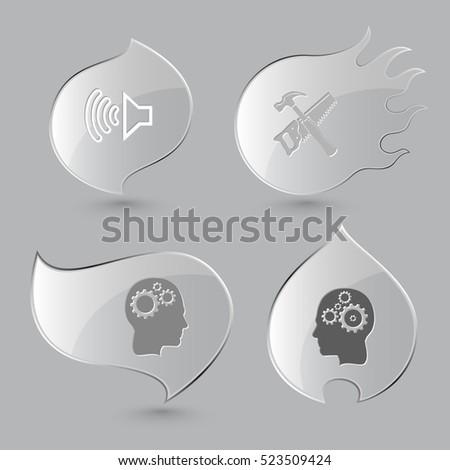 4 images  loudspeaker  hand saw