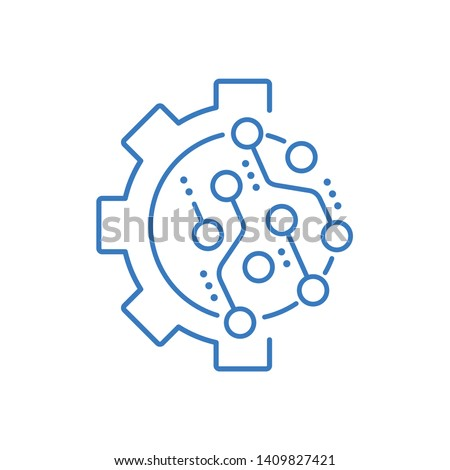 Implementation process electronic technology. Improvement, automation.Vector linear icon.