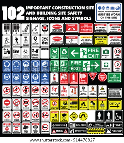 102 important construction site and building site safety warning  signage, icons and symbols. Building construction site, Hazard warning attention sign, Industry Health and Safety Icon collection.
