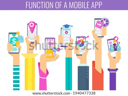 7 Important Function Of A Mobile App. Hand with phone. Learning, entertainment and navigation. Online banking, business management. Flat vector illustration.