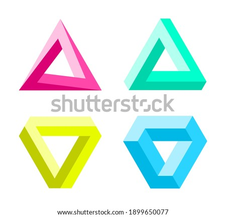 Impossible triangles set. optical illusion. Abstract infinite geometric objects. Impossible eternal figures. Isolated on white background. Vector illustration