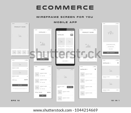10 in 1 UI kits. Wireframes screens for your mobile app. GUI template on the topic of