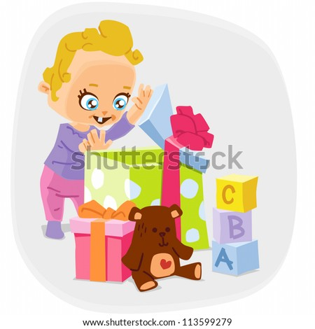 5 in 1 vector illustration of a child with gifts: a child, big box, smaller box, a teddy bear, cubes.