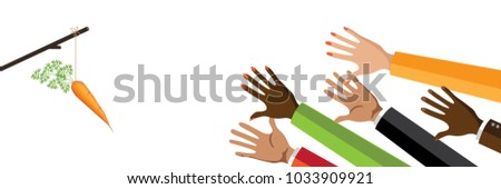 Incentive business concept. Multicultural group of men and women reaching for a dangling carrot on a stick. Banner format. EPS10 vector illustration. Metaphor.