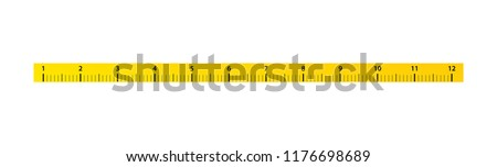 12 inch Measure Tape ruler. Vector ruler with yellow and black color.